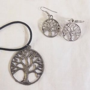 Silver Tree of Life Necklace & Earrings